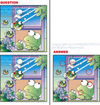 間違い絵探しクイズ「カエルの天気予報」_ベクターイラスト販売