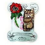 刺繍ミニブローチアネモネと猫