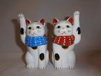 陶磁器招き猫ペア porcelain beekoning pair cats(No3)