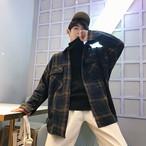 チェック柄 ジャケット アウター 長袖 ストリート系 メンズ オーバーサイズ オルチャン 韓国 原宿