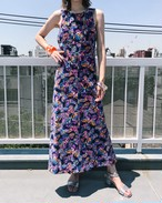 70s pile butterfly sleeveless dress ( ヴィンテージ  蝶々柄 ネイビー パイル ワンピース )