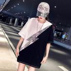 【tops】Tシャツ配色切り替えスパンコールファッション