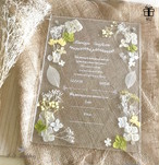 【4U wedding】イエロー&グリーン アクリル結婚証明書(専用ペン付) 押し花とプリザーブドフラワーを使用 結婚証明書 ブライダル ウェディング アクリル板