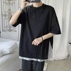メンズ Tシャツ 韓国系 肩落ち 半袖 ストライプ 切替 送料無料