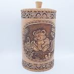 【ロシア】 白樺工芸 ベレスタ 筒型キャニスター 「森のくまさん」 20cm