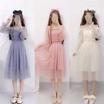 【dress】ガーリー系無地合成繊維スウィートデートワンピ17871990
