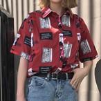 【tops】プリント半袖シンプル折襟シングルブレストシャツ17630570