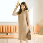 【dress】定番ニットワンピースシンプル合わせやすいスリムワンピース