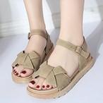 【shoes】レトロ合わせやすい簡約蝶結びファッションシューズ