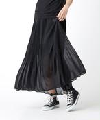 天竺素材裾消しプリーツスカート(ブラック)