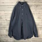ラルフローレン☆ブルー×ブルーボタンダウンシャツ M0548