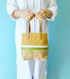3素材コンボ ミニトートバッグ チュール 花柄ガーデン刺繍 & 帆布 キャメル & 本革 ホワイト、グリーン