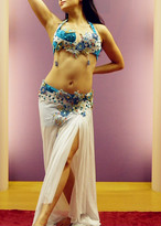 ベリーダンス衣装 コスチューム  エジプト製 オリエンタル 水色&ホワイト