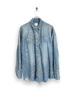 6.5oz Denim Western Shirt /vintage paint