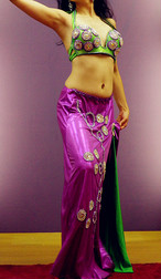 エジプト製 ベリーダンス衣装 エジプシャン グリーン&パープル
