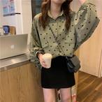【トップス】新作韓国風合わせやすいルーズ着痩せ長袖ドット柄シフォンシャツ