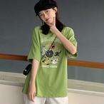 【tops】韓国系カジュアルラウンドネックカートゥーンプリントTシャツ