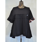 【 RehersalL 】side flare frill Tshirt(black5) /【リハーズオール】サイドフレアフリルTシャツ(ブラック5)