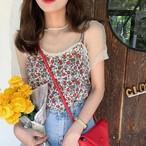 ブラウス 大人可愛い トップス シースルー キャミソール シャツ 花柄 フラワー セット 春夏 ホワイト ブルー