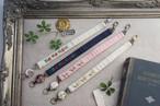 【卒入学祝い】刺繍のリールストラップ・ベージュ×小花