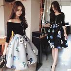 花柄 デコルテ見せ S〜XL スカート リボン 結婚式やお呼ばれ◎フェミニンスタイル