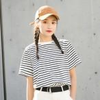 【tops】ストライプ柄清新合わせやすいカジュアルTシャツ