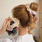 ヘアアクセサリー ヘアゴム シュシュ シンプル ポニー 簡単 アレンジ かわいい おしゃれ 大人 透け感 春夏 SS  花柄 シンプル 髪留め シンプル刺繍フラワーシュシュ