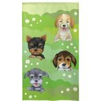 【洋柄のれん】18匹の4匹の犬(緑)85x150cm【暖簾 91200】