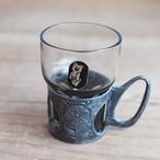 【ロシア】 ミーシャのシール付き ウォッカグラス グラスホルダー ミニコップ こぐまのミーシャ 旧ソ連 USSR