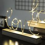 LEDライト『love』and『home』ディスプレイ置き型ワイヤーライト 間接照明 インテリアランプ デザインライト 木製 電池式 寝室インテリア  イルミネーション