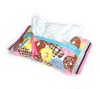 ティッシュケース-ソフトパック用 ドーナツ柄×ピンク