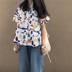 【tops】韓国系POLOネックプリントシングルブレストシャツ