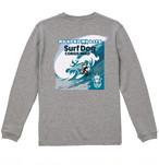 No.2020-welshcorgi-longts3-002 :オーセンティック スーパーヘヴィーウェイト  7.1オンス ロングスリーブ Tシャツ(1.6インチリブ)  サーフシリーズ コーギーサファーマン バージョン2 big wave NO SURF NO LIFE