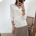 【tops】伸縮性いい合わせやすいvネック最適なデザインセーター 22886172