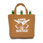 【BAG】SAKE IS JUSTICE トートバッグ(内ポケット付き) /キャメル