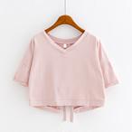 【tops】TシャツスリットVネック韓国風ゆったりファッション