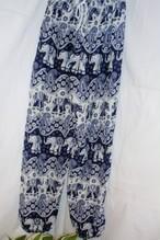 (CP007-3) タイパンツ 象柄③ 紺