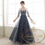 aライン レディース ドレス イブニングドレス カラードレス 可愛い 綺麗 ネイビー 刺繍 キラキラ