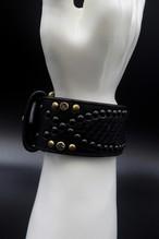 Item No.0228: Snake on Snake Bracelet/Black Python/Black Studs/Black Swarovski