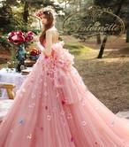 花柄 ゴージャス aラインドレス 華やか 可愛い ピンク ウェディングドレス ドレス 結婚式 二次会 花嫁 カラードレス ウエディング ブライダル 大きいサイズ