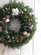 冬のクリスマスリース/直径28cm/プリザーブドグリーン/ナチュラルドライ木の実/クリスマスリース/リースボックス付き/クリスマスインテリア【受注制作】【お届け日指定可能】