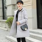 【outer】ダウンコート綿入りシンプル合わせやすいフード付き防寒コート