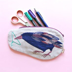 《鳥/カラス》 ガーゼポーチ からすmorita MiW ペンケース 筆箱