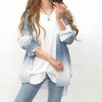 グラデーション ムラ染め 綿100% ガーゼ地 柔らか シャツ ユニセックス ブルー