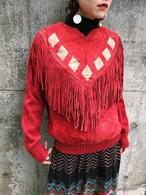 80s red fringe leater × knit tops ( ヴィンテージ レッド フリンジ ニット トップス )