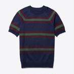 Short-Sleeve Striped Sweater(Navy)