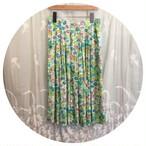 ヴィンテージ  スカート フレア  花柄 ライトグリーン