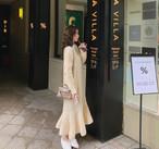 2色 ニットワンピース ロング フレア マーメイド ケーブル編み 長袖 きれいめ 上品 大人可愛い カジュアル 秋冬 韓国 オルチャン ファッション