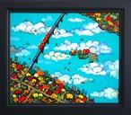 油彩画*秋のかわ