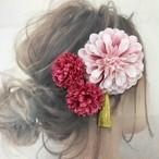 薄ピンクダリアタッセル付き   マム  髪飾り  2